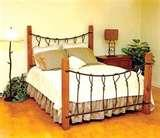 Bed Frame Iron Wood pictures
